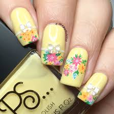 the polish list custard yellow floral nail art
