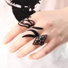 midi rings set ring set of 3 black enamel midi rings online shopping india