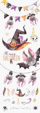 happy halloween watercolor clipart bat witch hat snake