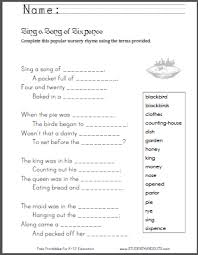 sing a song of sixpence rhyme with worksheets