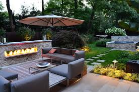 garden luxury backyard landscape design with grey sofa and outdoor