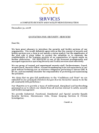 Sample Business Letter Doc by Om Services Quotation Doc Security Guard Labour