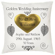 golden anniversary gifts golden wedding keepsake cushion personalised names date ideal