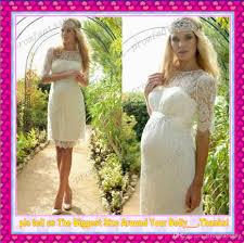2016 short lace garden empire maternity wedding dresses sheer crew