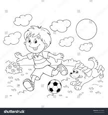 coloring page outline cartoon boy soccer stock vector 443182006