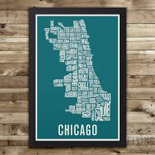 Maps Of Chicago Neighborhoods by Chicago Neighborhod Typography City Map Print U2013 Flying Junction Co
