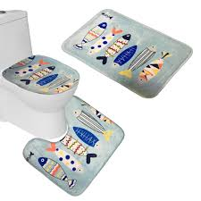 Bathroom Contour Rugs Bath Mat 1 Set 3 Piece Fishes Toilet Rug Bathroom Contour Mat