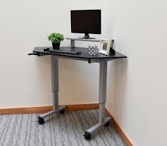 tremendous grey wooden corner standing desk black metal computer