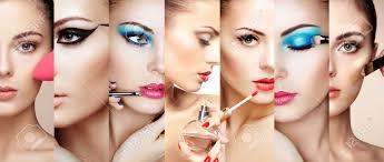 makeup artist beauty collage faces of women fashion photo makeup artist