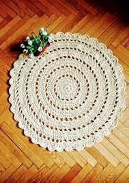 Baby Area Rug Crochet Rug Round Classic 1 Milk Ivory 45 8