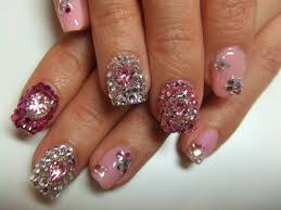 acrylic nails with simple rhinestones