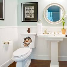 Wall Stickers Cats Vivid 3d Cat Dog Hole View Wall Toilet Sticker Room Decoration