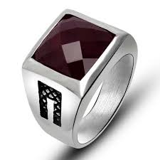 buy fashion rings images Buy fashion new stainless steel mens rings red black agate wedding jpg