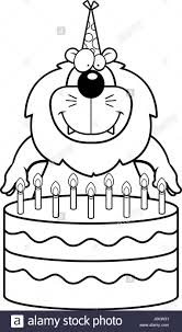 cartoon illustration lion birthday cake stock photos u0026 cartoon