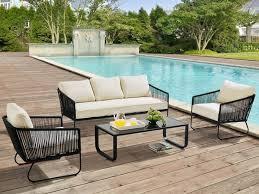 canape jardin aluminium salon de jardin envigado en métal et corde canapé 3 places 2