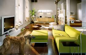 cool family room design with black couches and leather ottoman