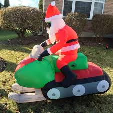 Santa Claus In Helicopter Christmas Decoration by 5 5 U0027 Animated Santa On Snowmobile Airblown Inflatable Christmas