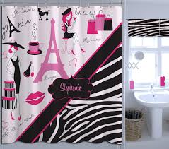 Zebra Shower Curtain by Custom Eiffel Tower Printed Shower Curtain Black Zebra Print Kids