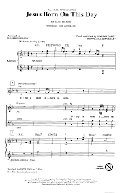 jesus born on this day satb by emerson j w pepper sheet