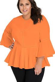 plus size blouse orange crochet insert bell sleeve plus size blouse mb250415 14