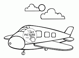 cartoon airplane smiling coloring page for toddlers