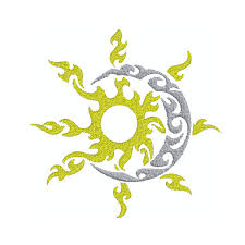 machine embroidery design instant tribal sun moon 1