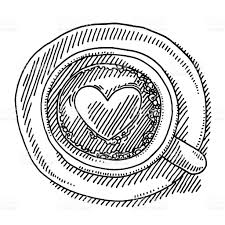 cup of coffee top view heart drawing stock vector art 464590402