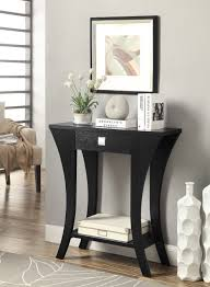 Black Entryway Table Black Finish Console Sofa Entry Table With Drawer By