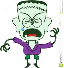 halloween frankenstein clenching his eyes and crying stock vector