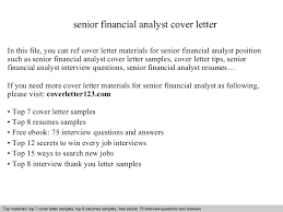 Senior Financial Analyst Resume Sample by Senior Financial Analyst Cover Letter