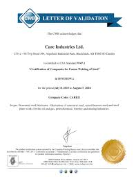 Quality Certification Letter commitment to quality care industries