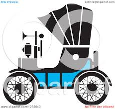 Old Ford Truck Vector - clipart of a vintage antique car with a horn royalty free vector