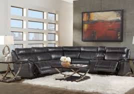 martino black 6 pc leather power reclining sectional reclining