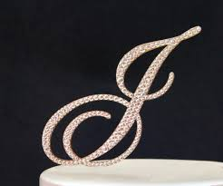 l cake topper monogram gold wedding cake topper in any letter