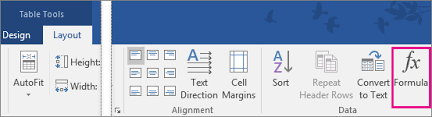 table tools design tab sum a column or row of numbers in a table word