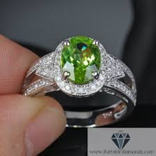 peridot engagement ring oval cut peridot pave halo milgrain engagement ring