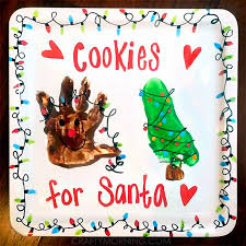 handprint footprint santa s cookie plate crafty morning