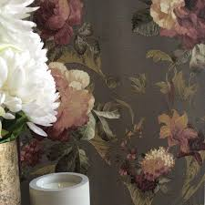 grey wallpaper with red flowers velvet peony and hydrangea floral wallpaper grey white dark red