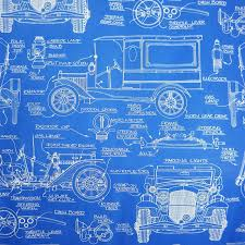 car wrapping paper 1950s vintage car blueprint gift wrapping paper