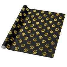 black wrapping paper dog paw print gold black background metallic faux wrapping paper