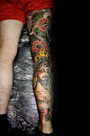 50 traditional leg tattoos for men old design ideas