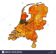 north holland flag on map with borders of provinces in netherlands