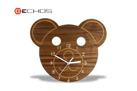 modern wood animal bear kids wall clock www echosusa com