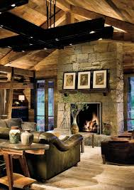 Country Livingroom by Rustic Country Living Room With Natural Stone Fireplace Also