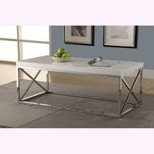 Overstock Sofa Table by Glossy White Chrome Metal Cocktail Table Free Shipping Today