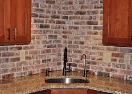 veneer kitchen backsplash of vintage brick veneer