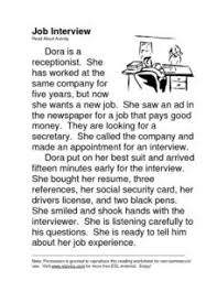 job interview esl read aloud 2nd 3rd grade worksheet lesson