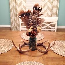 Dining Room Table Centerpiece Rustic Dining Room Table Centerpiece Turkey Feathers U0026 Deer