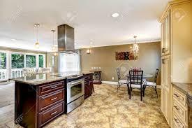 kitchen island with stove spacious kitchen room with tile floor big kitchen island with