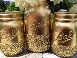 Rustic Mason Jar Centerpieces For Weddings by 3 Shimmering Gold Painted Mason Jars For Rustic Wedding Or For